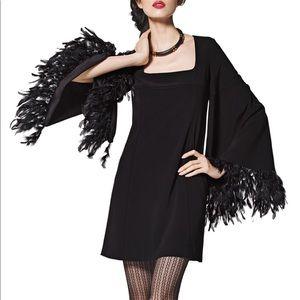 Nanette Lepore feathered cape sleeve mini dress